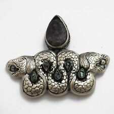 Charoite Aztec Ouroboros Pendant Silver Plated Snake Handmade Nepal PD681