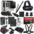 GoPro HERO4 Black Edition +2 Extra Battery +Head Strap 64GB All In 1 PRO Acc Kit
