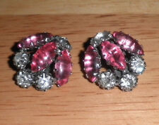 vintage  Antique large clip Pink and Clear Schreiener  Rhinestone earrings 1950s