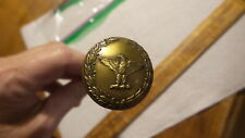 Antique HATPIN, Brass EAGLE SURROUNDED WITH LAURELS 5/8""