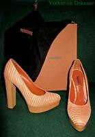 New MISSONI S/S15 Tessuto Eur37 Uk 4 Orange Pink Stripe Knit Leather Heels Shoes