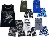 Boys Summer Set Plane T-shirt Top and Army Shorts Age 2 3 4 5 6 7 8 9 10 Years