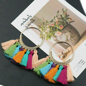 Women Fashion Bohemian Earrings Long Tassel Fringe Dangle Earrings Jewellery