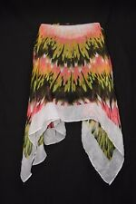 White Neon Pink Yellow Green & black 'Flower Explosion' Print Sheer Scarf (S176)