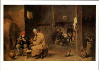 Künstlerkarte VEB Seemann Leipzig Maler David Teniers d.J. Raucher id Wirtsstube