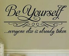 BE YOURSELF Wall Stickers Decal Removable Home Decor Mural Art Vinyl