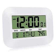 12 Inch Large LCD Alarm Clock Slim Digital Calendar Day Wall Battery Operated