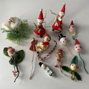 12 Vintage Christmas Items Spun Cotton Heads Santa Snowman Elf Angel Japan