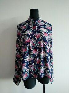 New Look womens Blue Floral Chiffon button up Shirt Blouse AU 10 M