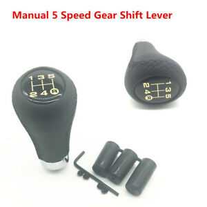 Black Stitched Leather 5 Speed Gear Shift Lever Knob For Car Manual Transmission