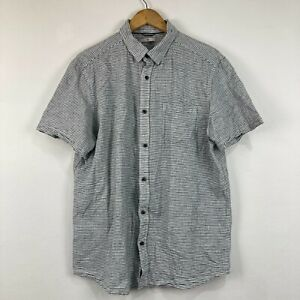 Target Mens Button Up Shirt Size L Large Grey Striped Short Sleeve Collared