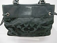 COACH Mini Drawstring Carryall Signature Black Nylon Purse Bag