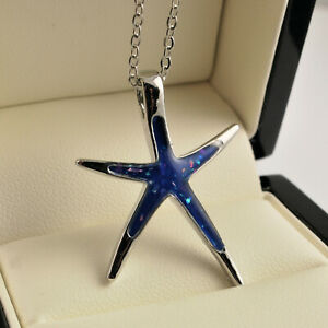 Sterling Silver Plated Simulated Blue Fire Opal Starfish Pendant Necklace UK