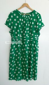 BODEN // Size 20 18 // $220 Current In Store Carey Emerald Polka Dot Dress