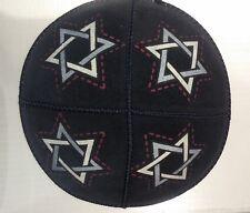 Black Suede Leather Star of David Kippah Yarmulke Jewish Kippa Flat Yamaka Kipah