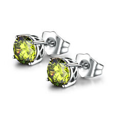 HUCHE Light Green Sapphire Silver Gold Filled Lady Wedding Party Earrings Studs