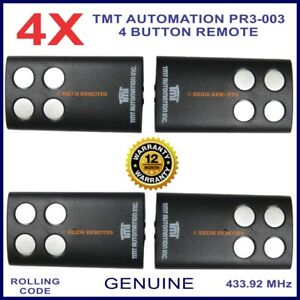 TMT Automation PR3-003 genuine 4 silver button black gate remote control x 4