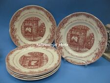X6 JOHNSON BROTHERS THE NIGHT BEFORE CHRISTMAS Pink SALAD PLATES Cat Stockings