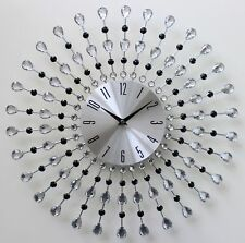 Large 45cm Clear Black Diamante Beaded Jeweled Silver Sunburst Metal Wall Clock