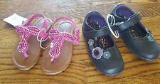 Toddler Girls 2 Pairs Pink Beaded Sandal & Black Roxy Mary Jane Size 7