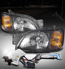 HEADLIGHTS LAMP CHROME W/BLUE DRL LED+6K HID FOR 00-04 LEGACY L/03-06 BAJA SPORT