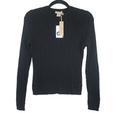 NWT Vertical Design 100% 2-Ply Cashmere Black Cable Knit Sweater Size Small