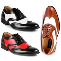 Metrocharm MC145 Men's Two Tone Perforated Wing Tip Lace Up Oxford Dress Shoes