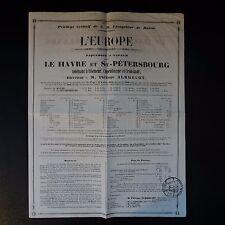 """1842 TIMBRE HUMIDE """"TIMBRE ROYAL 5c SEINE"""" LE HAVRE IMPRIMÉ PAQUEBOTS A VAPEUR"""