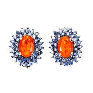 Oval Orange Fire Opal 7x5mm Sapphire Diamond Cut 925 Sterling Silver Earrings