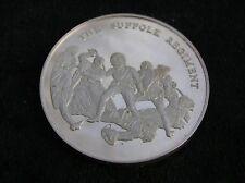More details for solid silver medallion the suffolk regiment 45 grammes