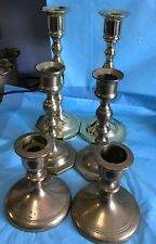 Three Pair Brass Candlesticks-One Pair From Baldwin-lw