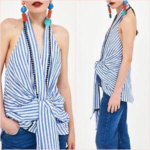 SALE Blue Striped Halter Neck Top Shirt Pom Pom XS S M UK 6 8 10 US 2 4 6 ❤