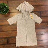 NEW Da-Nang Surplus Blouse/ Top Hoodie w/ Drawstring Sleeves- Gray Size XS
