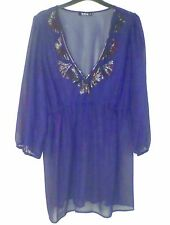Size 20 top dark blue shirt blouse 3/4 sleeves sheer NEW sequined neckline