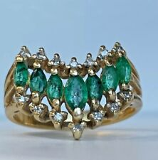 14k Yellow Gold Emerald & Diamond Vintage Style Ladies / Womens Cluster Ring