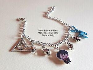 Bracciale artigianale ispirato saga di Harry Potter Patronus e Doni della Morte