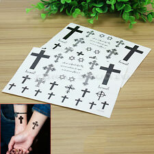 2 Sheets HSC005 Cross Temporary Tattoo Stickers Waterproof Body Art Stickers