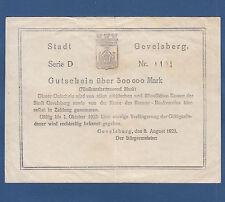 Stadt GEVELSBERG 500.000 Mark 1923 III- / VF-