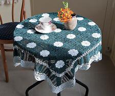Cotton Hand Crochet Lace Doilies Mat Topper Tablecloth Square 86x86CM Green