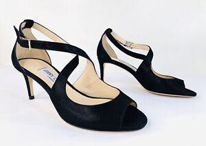 JIMMY CHOO Emily 65mm Black Metallic Suede Heel Ankle Strap Sandals Size 36.5