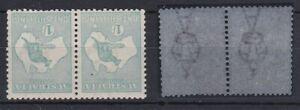 K856) Australia 1916 1/- Pale blue green Kangaroo 3rd watermark Die II, Inv Wmk