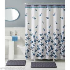 Blue Floral Giana 15-Piece Bathroom Set With Bath Rugs Shower Curtain & Rings