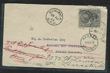 DOMINICA (P1106B) 1925 KGV 2D NICE INTERISLAND COVER TO BAHAMAS THEN FWD