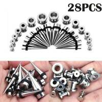 28PCS Steel Tunnels Tapers Set Ear Gauges Plugs Stretching Kit Piercing 12G-00G