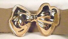 Ladies Belt Goldtone Metal Buckle Ribbon Bow Tan Beige Elastic Stretch Vintage