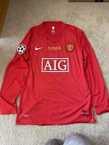 Nike 2007-2008 Manchester United UCL Jersey Ronaldo #7 Long Sleeve Size Large