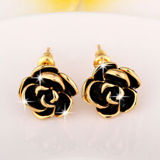 Classic 18k Yellow Gold Filled Black Oil Drip Flower Stud Earrings Jewelry