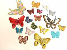 CraftbuddyUs 10 Iron On Fabric Butterfly Motif, Sewing, Embroidery, Patches
