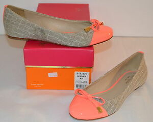 New $225 Kate Spade New York Heather Linen Hot Coral Patent Leather Flats 6 M 1