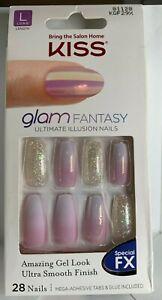 Kiss Nails Glam Fantasy Glue/Press on Manicure Long Purple Fade Silver Glitter